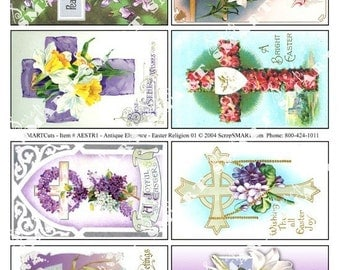 8 Crosses, Lillies, Daffodils in a beatutiful Digital Collage Sheet Download AESTR1