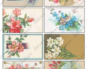 8 Colorful  Authentic Vintage Flowers - in a Digital Collage Sheet Download - AFLWR11