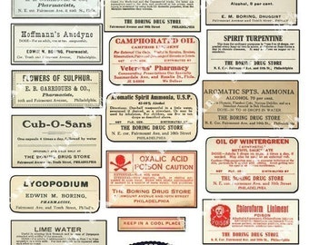 24 Pharmacy Labels - 1850-1920 Antique Labels on a Collage Sheet Digital Download - APHLB2