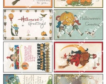 Halloween Pumpkins, Witches, and Spirits-8 Antique Designs on a Digital Collage Sheet Download - AHLWN2