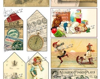 Vintage School Days - 9 Images with 4 Tags of Aged Schoolhouse and Children Images on a Digital Collage Sheet Download - ASCH01