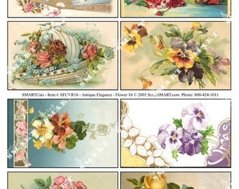Flowers and Fans-8 Antique Designs on a Digital Collage Sheet Download - AFLWR16