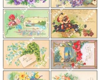 Flowers of Spring-8 Colorful Vintage Images Digital Collage Sheet Download - AFLWR10