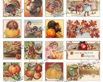 Thanksgiving Tiles-24 Vintage Designs on a Collage Sheet Digital Download - THGEMB1