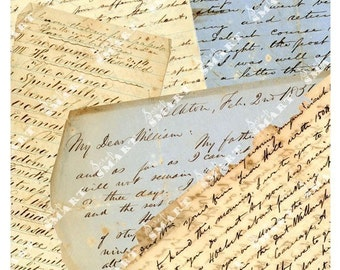 Old Writing from 1837 on a Collage Sheet Digital Download - ALETT1