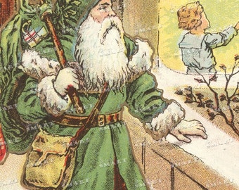 Santa Claus in green departing the scene - Digital Collage Sheet - 8 1/2 x 11 full sheet - DLSAN81105