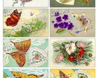 Butterfly Postcards-8 Vintage Cards on a Collage Sheet Digital Download - ABUTT1