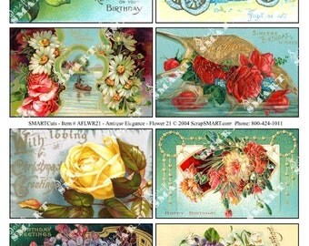 Flowers-8 Antique Designs on a Digital Collage Sheet Download - AFLWR21