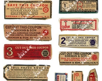 Coupons - 14 Coupons on a Collage Sheet Digital Download - ACOUP1