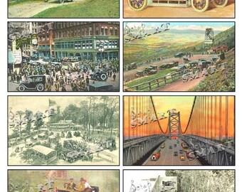 Automobile Postcards-8 Vintage Cars on a Collage Sheet Digital Download - ACARS1