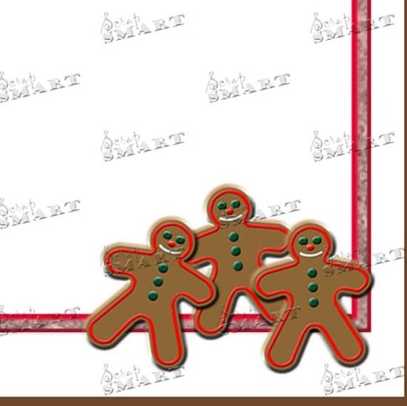 Christmas Stationary - Christmas cookie gingerbread men  with red tinsel in a digital collage sheet download - DSXMAS11