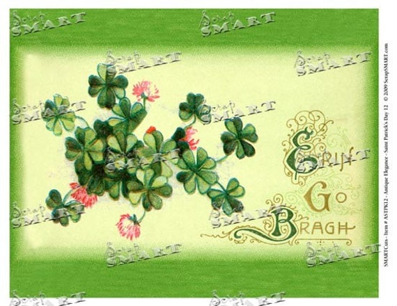 St. Patrick's Day - Full Sheet - Erin Go Bragh Harp - Digital Collage Sheet Download - ASTPK12