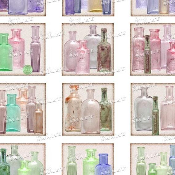 54 Glass Bottles - Antiques - Collage Sheet Digital Download - ABOTTILE02