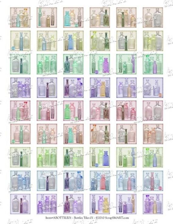 54 Glass Bottles - Antiques - Collage Sheet Digital Download - ABOTTILE01