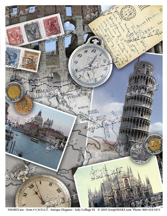 Italy Collage - Full Sheet of Authentic Images on a Digital Collage Sheet Download - AITLC1