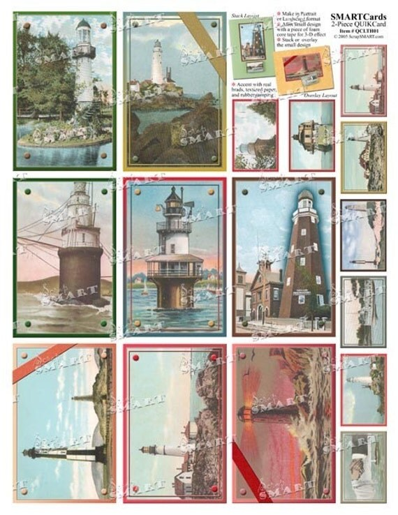 16 Lighthouses circa 1900's vintage designs - 8 large and 8 small - in a collage sheet download - QCLTH01