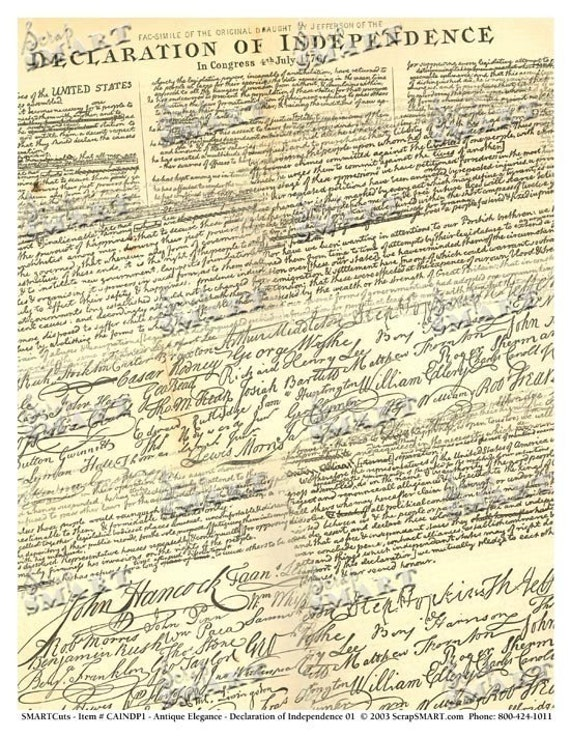 Witty image for printable declaration of independence pdf