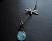 Rainbow Moonstone and Dragonfly Necklace
