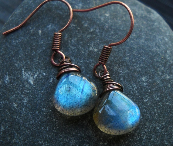 Labradorite Earrings, Gemstone Earrings, Antiqued Copper Wire Wrap