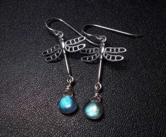 Dragonfly Labradorite and Sterling Silver Earrings, Dangle Earrings