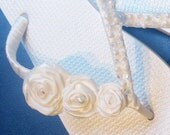 CUSTOM ORDER - BeccaV9 - Here Comes the Bride - Turquiose - White Wedding Flip Flops - Size 10-