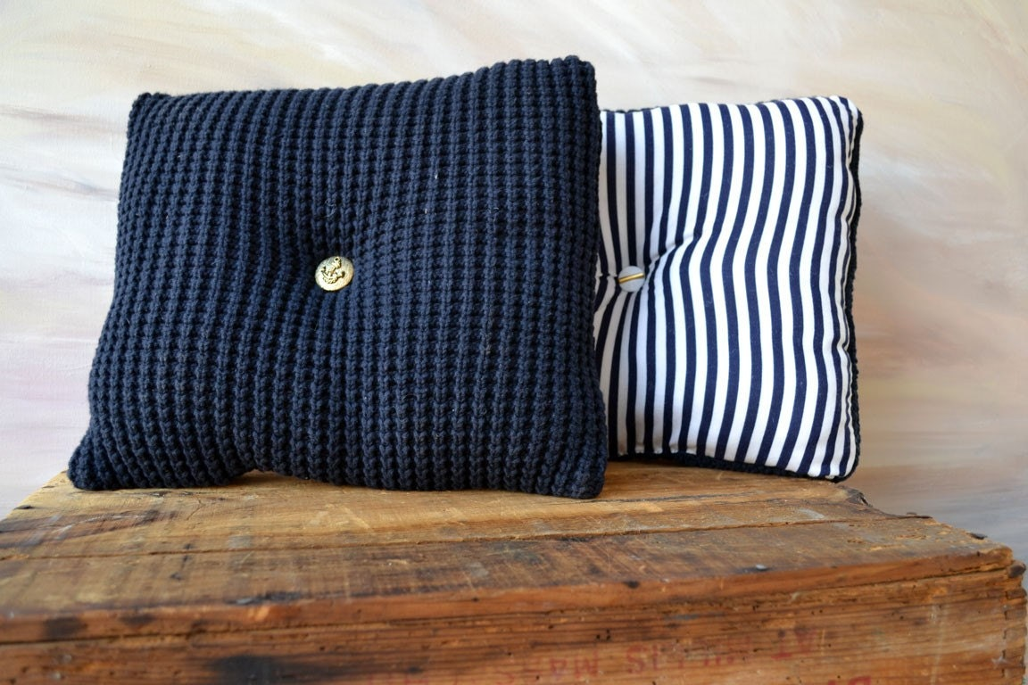 Nautical Cushion Knitting Pattern : SALE NAUTICAL Sweater Pillow Set Navy Blue and White