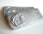 Custom Rosette Bridesmaids Clutches in Silver, Bridal Accessories, weddings