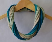 Jersey t shirt scarf in Ocean - dark teal, green-blue, sand, and serene green