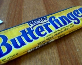 UPCYCLED  Butterfinger candy bar wrapper RECYCLED into a pencil bag/coin purse