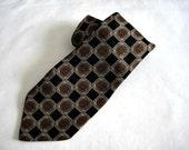 Valentino Deco Black and Brown Silk Necktie