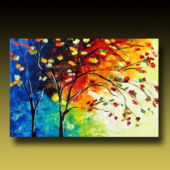 tree painting original large abstract textured modern palette