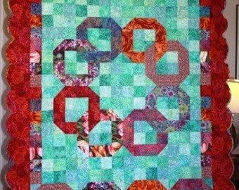 Modern Quilt Flowers in the Water