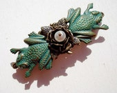 Flower with Pearl and Verdigris Frogs Hair Barrette
