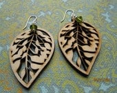 Reserved for Maria Rose: Leaves and sparkle earrings
