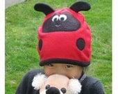 Lady Bug Fleece Hat - Newborn, Infant, Baby, Toddler, Girl Children Animal Fleece Hat, Baby Infant Toddler Lady Bug Hat