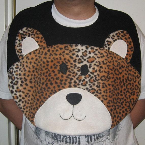 Adult Leopard Bib, Adult Bib, Clothing Protector, Men and Women Adult Bib, Adult Animal Bib