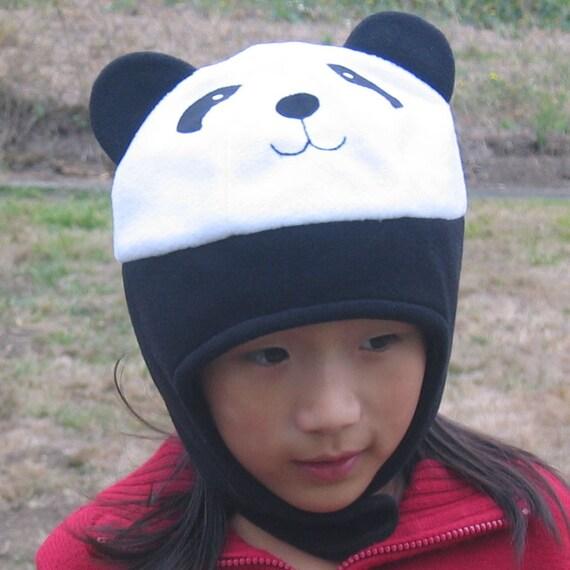 panda fleece hat with strap   baby toddler children adult animal
