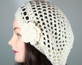 Cream Beret with Flower Organic Cotton