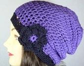 Slouchy Beanie, Slouch Hat, Tam in Purple, Black
