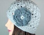 SALE 20% Off Crochet Beanie Hat in Light Gray, Slate Gray Flower, Textured, Chunky Knit