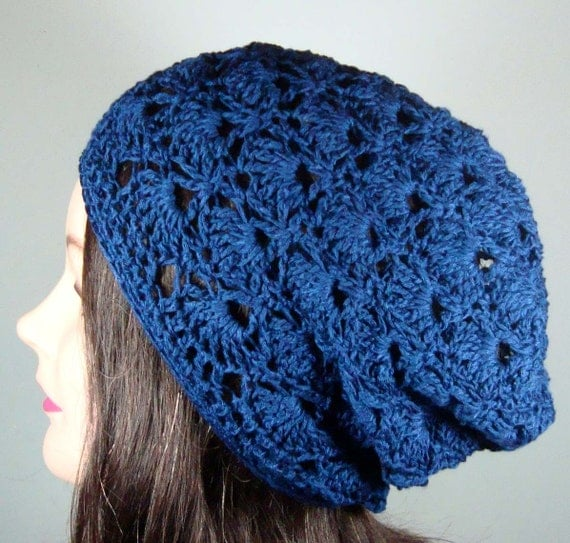 Items similar to Slouch Beanie Hat Bamboo Crochet Shells ...