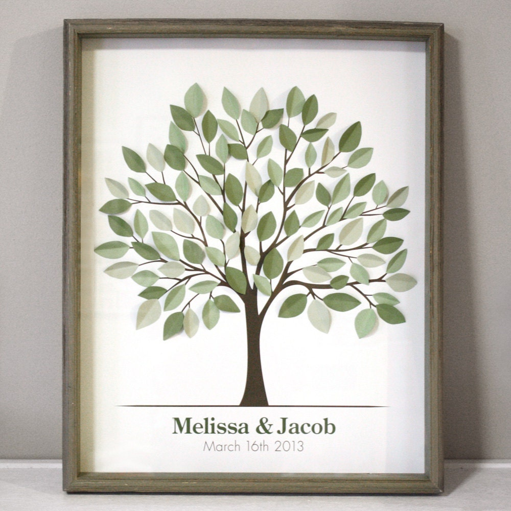 Wedding Tree Guest Book: 3D Wedding Tree Guest Book With Leaves Unattached
