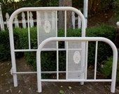 Wrought Iron Vintage Grey Shabby Twin Bed --- cane detail with fleur accent