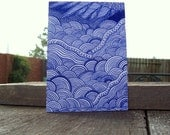 ACEO Drawing in Blue Ink on White Matboard - Mehndi \/ Mehendi or Traditional Henna Art