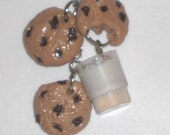 Chocolate Chip Cookie  and Milk Necklace and Earrings Polymer Clay Set