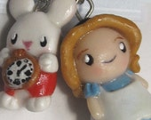 Alice In Wonderland pendant and mad Hatter Earring Jewelry Set