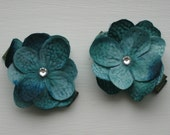 Teal Blue Flower Clippies