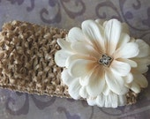 Toasted Almond Headband with Ivory Flower