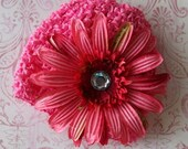 Bright Pink Baby Beanie with Hot Pink Flower