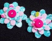 Paisley, Polka Dots and Peace Signs - 2 inch Fused Fabric and Felt Flowers for Hair Clips - Set of 2 - Lot 3889